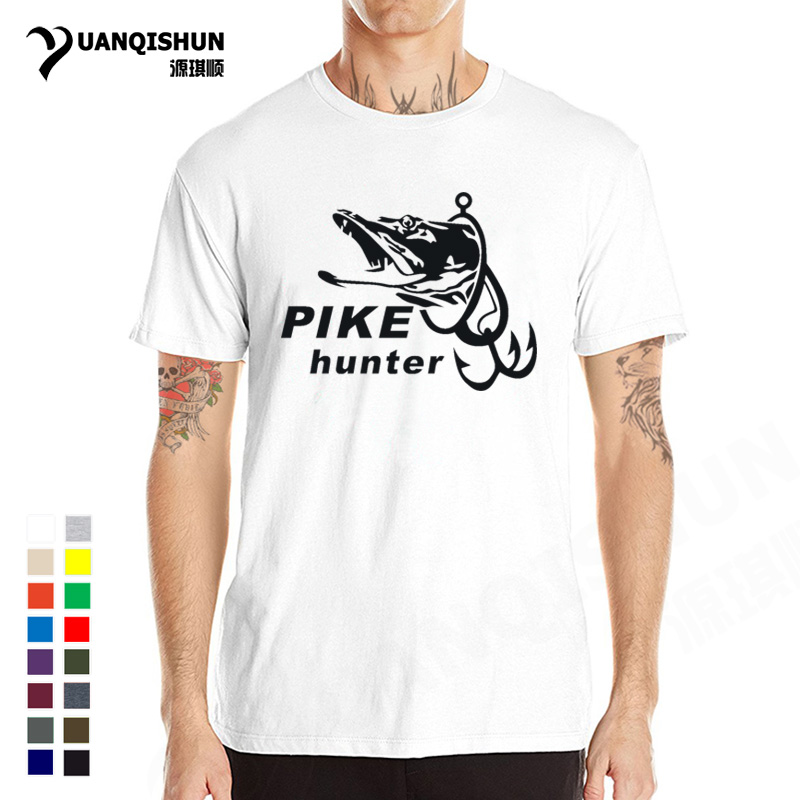 Summer Hot Pike Hunter Fish Men T-shirt Fashion Funny Fishings Printed T shirt Men's Short Sleeve Tees Top Quality Cotton Tshirt