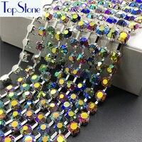 New AB Màu Sắc 28ss Glass Chatons Trong handmade Vòng Cup Claw Chain Rhinestone 6 mét May Crystals