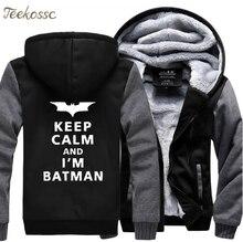 Super Hero Keep Calm I Am Batman Fashion Hoodies Sweatshirts 2018 Winter Warm Fleece Top Quality Casual Men Hip Hop Thick Hoodie