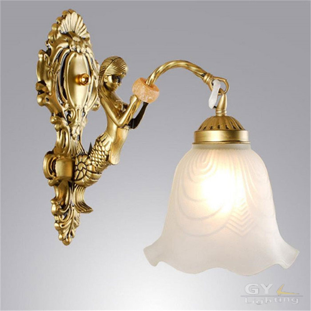 European style home wall lamp antique vintage mermaid wall ...