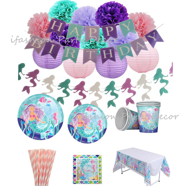 Little Mermaid Party Favors Disposable Tableware Decorations Paper Plates Cups Napkins Lanterns Pom Poms Birthday Banner