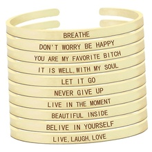 Believe In Yourself Inspirational Quote Engraved Gold Bracelet Women Fashion Adjustable Cuff Bangle