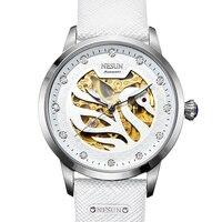 스위스 럭셔리 브랜드 nesun 여성 시계 자동 자체 바람 정품 가죽 시계 여성 방수 백조 모양 시계 N9301-3
