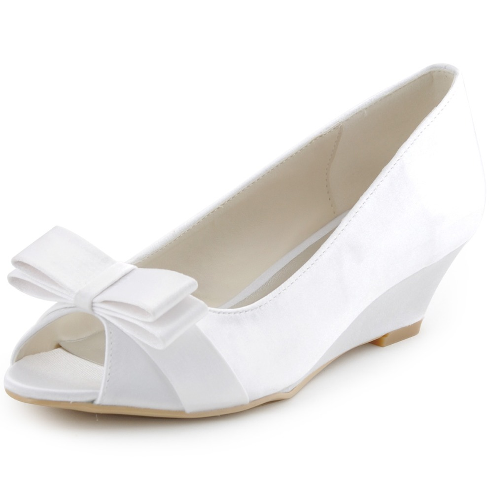 Shoes Woman WP1402 Champagne Low Heel Peep Toe White Ivory Bridal Party Pumps Wedge Low Heels Bow Satin Lady Wedding Shoes