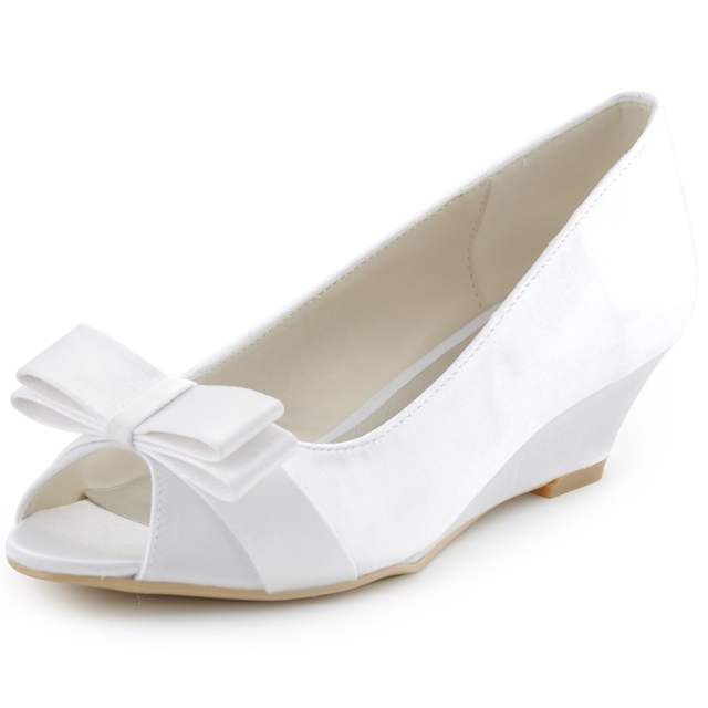 Online Shop Shoes Woman WP1402 Champagne Low Heel Peep Toe White Ivory  Bridal Party Pumps Wedge Low Heels Bow Satin Lady Wedding Shoes  1b4f83775403