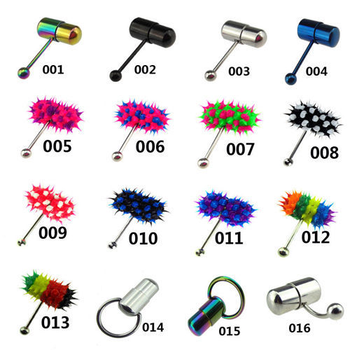 30pcs Mixed Cool Vibrating Barbell Tongue Piercing Bar Stainless Steel Body Jewelry Top Quality Free Shipping