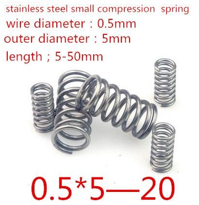 50 개 0.5*5*20 미리메터 0.5*25 미리메터 0.5 미리메터 스테인레스 스틸 작은 스팟 봄 와이어 마이크로 봄 압축 스프링  압력 봄 OD = 5 ...