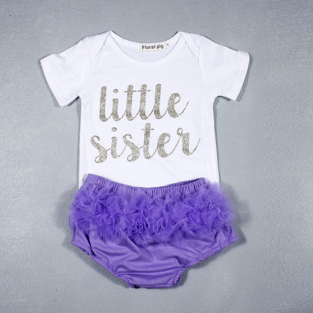 2PCS Cheap infant Baby Girl Clothes Set Bodysuit Funny Letter Little Sister Tiny Cotton Baby Tutu Skirt Bloomers Outfits onesie