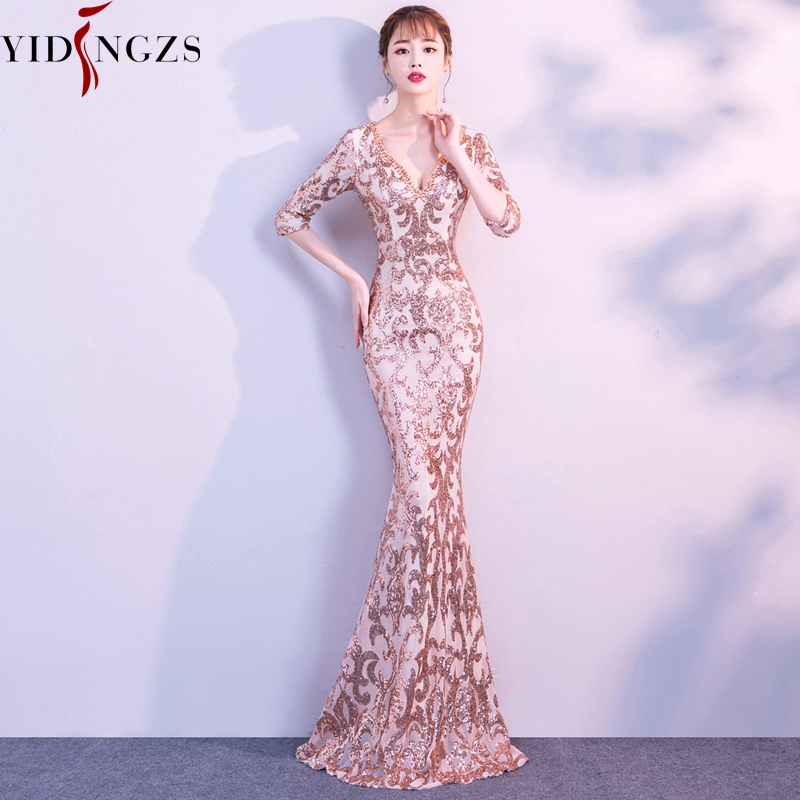 YIDINGZS V-neck See-through Back Sequins Evening Party Dress Half Sleeve Beads Formal Long Evening Dresses YD062