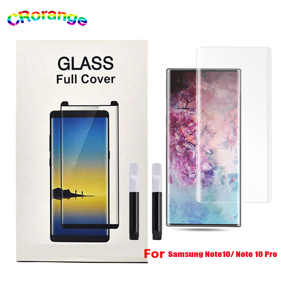 UV Glass For Samsung S9 Plus S10 Plus Note 9 Full Cover For Samsung Note 10 Plus Full Glue UV Liquid Screen Protector Mate30 Pro