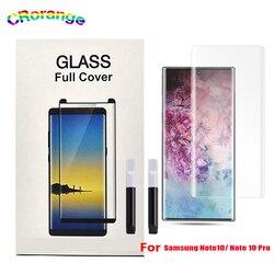 UV Vidro Para Samsung S10 S9 Plus Plus Nota 9 Cobertura Integral Para Samsung nota 10 Mais Cheio de Cola UV protetor de Tela líquido Mate30 Pro