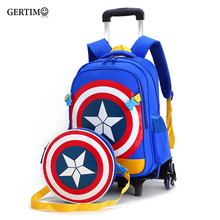 New Primary School Trolley Bags Captain America Children Anime Backpack Schoolbag Child with Wheels ;School bags trolley