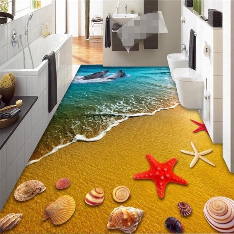 Beibehang Custom Photo 3D Wearable PVC Flooring Color Underwater World Toilet Bathroom Bedroom Floor Papel De Parede In Wallpapers From Home Improvement
