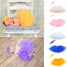 NoEnName-Null Sweet Newborn Baby Girl Tutu Skirt & Flower Headband Photo Prop Costume Outfit