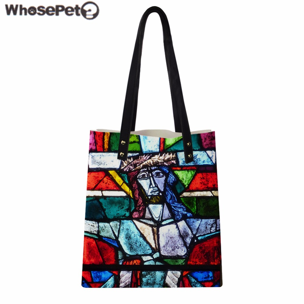 Whosepet Women Handbag Religion Character Print Pu Leather Shoulder Bag Fashion Beach Ager S Daily Tote Bolsa Sac In Bags From Luggage