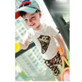 2015 summer Children 's  Collection  0-4 years old boys  Korean  fashion short-sleeve o-neck  pullover set  WFK