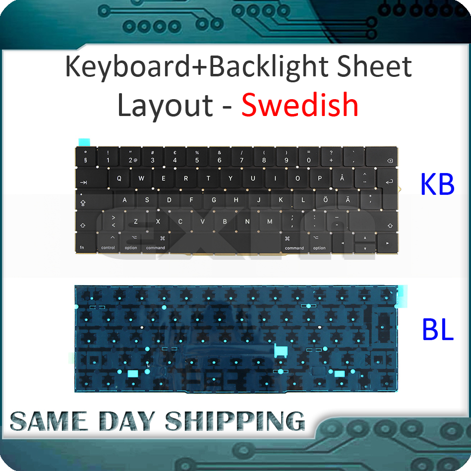 New for MacBook Pro 13.3 Retina A1706 Swedish Sweden Keyboard w/ Backlight Backlit 2016 2017 MLH12 MPXV2 EMC3071 EMC3163 new a1706 keyboard uk english eu euro backlit backlight for macbook pro 13 3 retina 2016 2017 mlh12 mpxv2 emc3071 emc3163