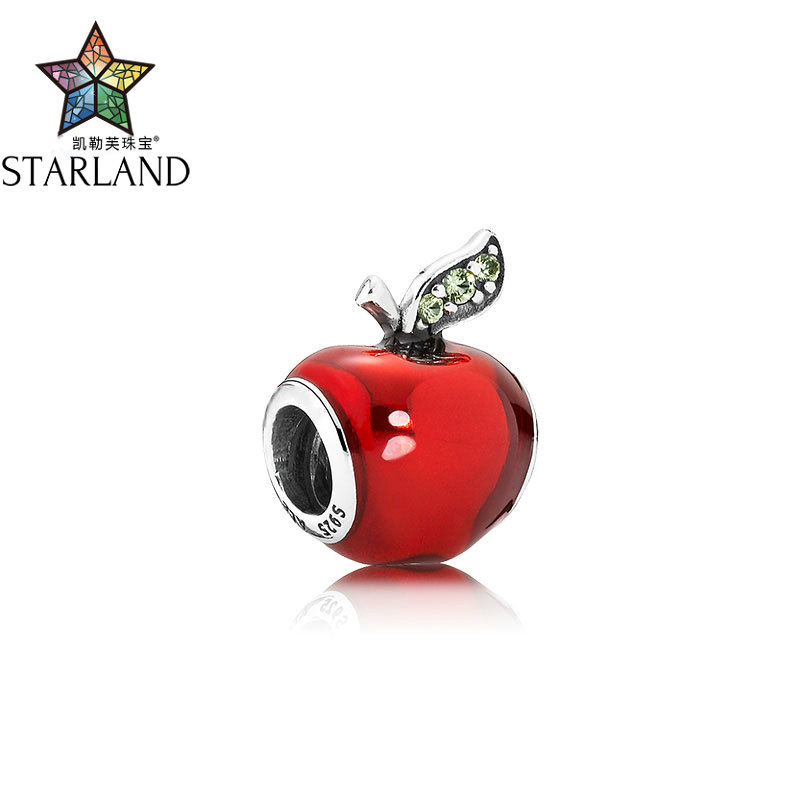 Strong-Willed Starland 100% 925 Sterling Silver Bead Charm Red Enamel Snow White's Apple Beads Diy Jewelry For Women Gift
