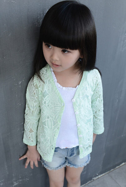 2018 spring children's clothes solid long sleeves thin cotton knitted girls cardigan sweaters for girls kids hollowed sweater