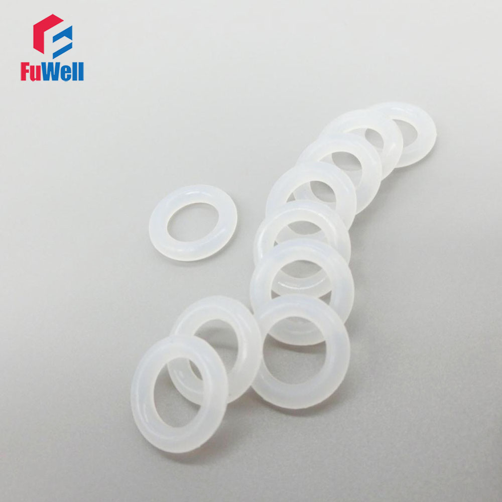 White Silicon O-ring Seals 4mm Thickness Food Grade Rubber O Rings Sealing Gasket Washer OD 25/26/27/28/29/30/31/32/33/34mm 100pcs nbr o ring seals gasket 1mm thickness food grade o ring seal 70sha black rubber sealing rings grommet