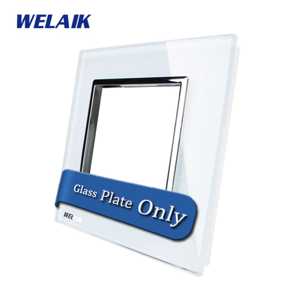 WELAIK  Touch Switch DIY Parts  Glass Panel Only of Wall Light Switch Black White Crystal Glass Panel Square hole  A18W/B1 welaik crystal glass panel switch white wall switch eu remote control touch switch light switch 1gang2way ac110 250v a1914w b