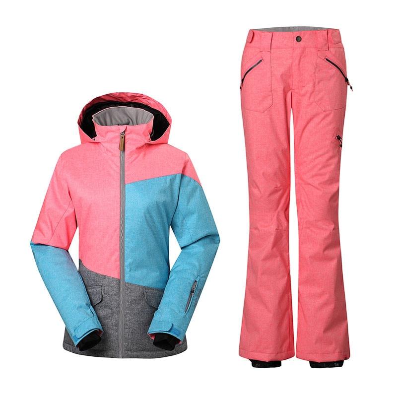 Prix pour Gsou Snow Snowboard vestes de ski + Pantalon de Ski Costume Un Ensemble Femmes Sports de Plein Air Chaud Neige Vêtements Usure Thermique Étanche