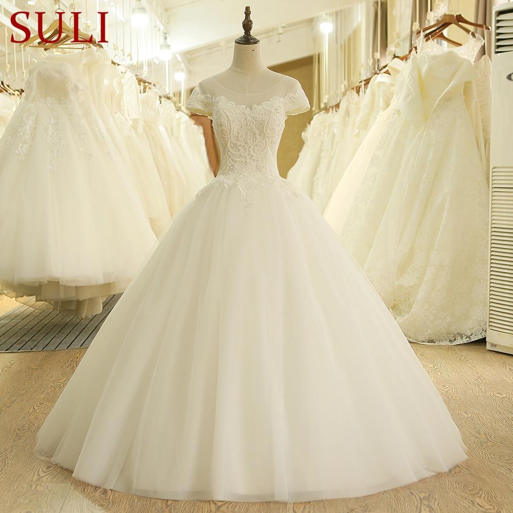 SL 203 Custom Made Short Sleeve Appliques Pearl Wedding Dress China