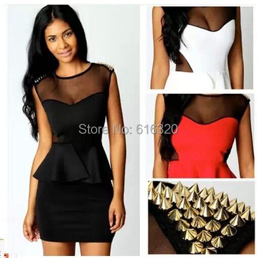 Xy210 Wholesale Plus Size Bodycon Dress Gold Rivet Mesh Sleeveless O