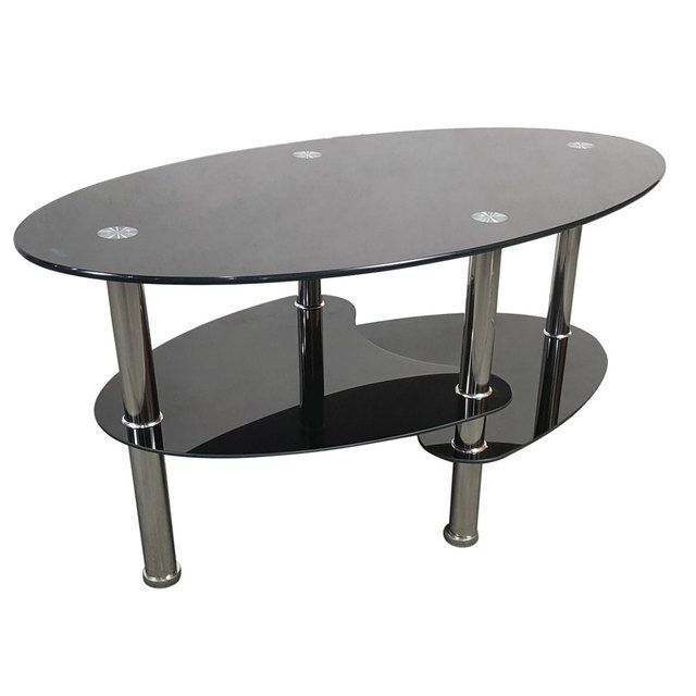 Modern Black Glass Coffee Table.Us 51 45 Dual Fishtail Style Tempered Glass Coffee Table Black Modern Tea Table 3 Layer Personality Storage Design In Bar Tables From Furniture On