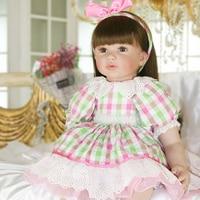 Plaid skirt princess doll Silicone Reborn Dolls girl Baby soft alive cotton Doll Reborn Boneca BeBes Reborn For Girls gift toy