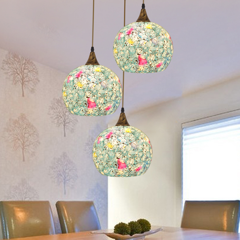 bohemian style glass shade pendant lightshell aisle dining room pendant lamp restaurant creative singlehead study