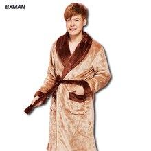 2016 классика фланель v-образным вырезом полиэстер мужчины халат с длинными рукавами плюс толстый бархат пижамы размер L-XXL