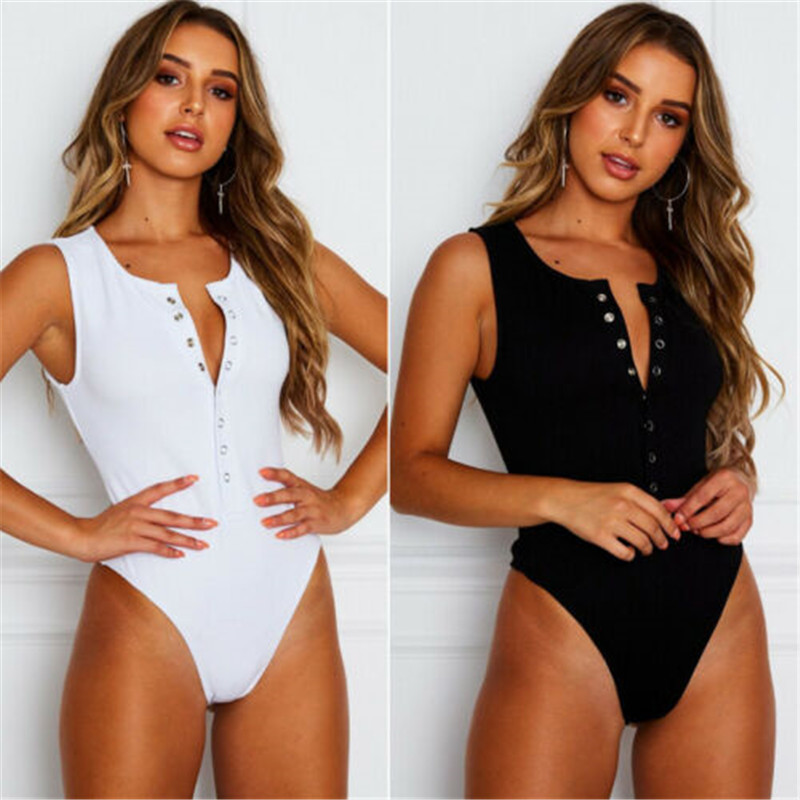 Lady sexy Bodysuit Sleeveless Button Shirt Playsuit   Romper   Solid Jumpsuit top Stretch Party club Body Tops T shirt 2 colors