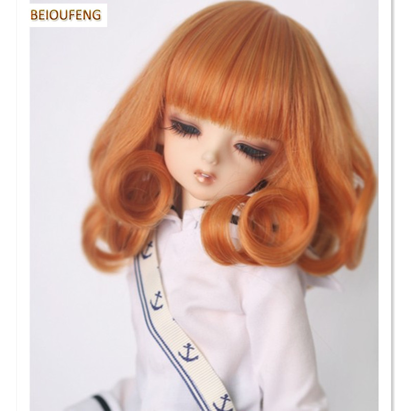 BEIOUFENG BJD Wig 1/3 1/4 High-Temperature Wig Girl Short Curly Hair Doll Wig In Beauty and Health with Neat Bangs 25cm 100cm doll wigs hair refires bjd hair black gold brown green straight wig thick hair for 1 3 1 4 bjd diy