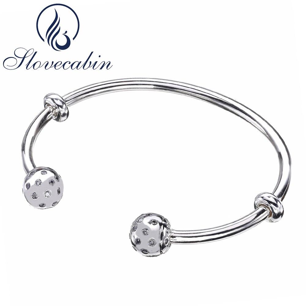 Slovecabin Original 925 Sterling Silver Shimmering Screw Open Bangle Bracelets For Women Crystal Bangle Sterling Silver Jewelry