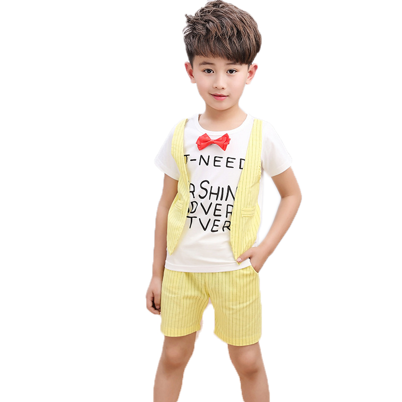 2017 Summer boys clothes sets kids clothes letter printed short sleeve fake two pieces t shirt+striped shorts children tracksuit