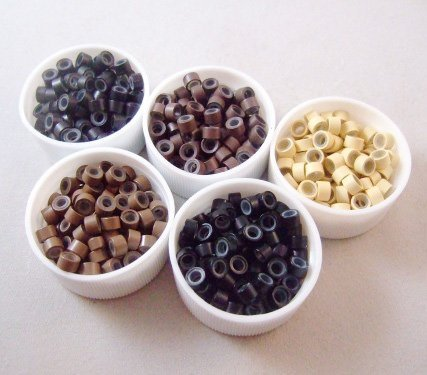 1200pcs/Lot Silicon Micro Link Beads for Hair Extension 5 color Yellow/Black/Brown/Beige AE00374