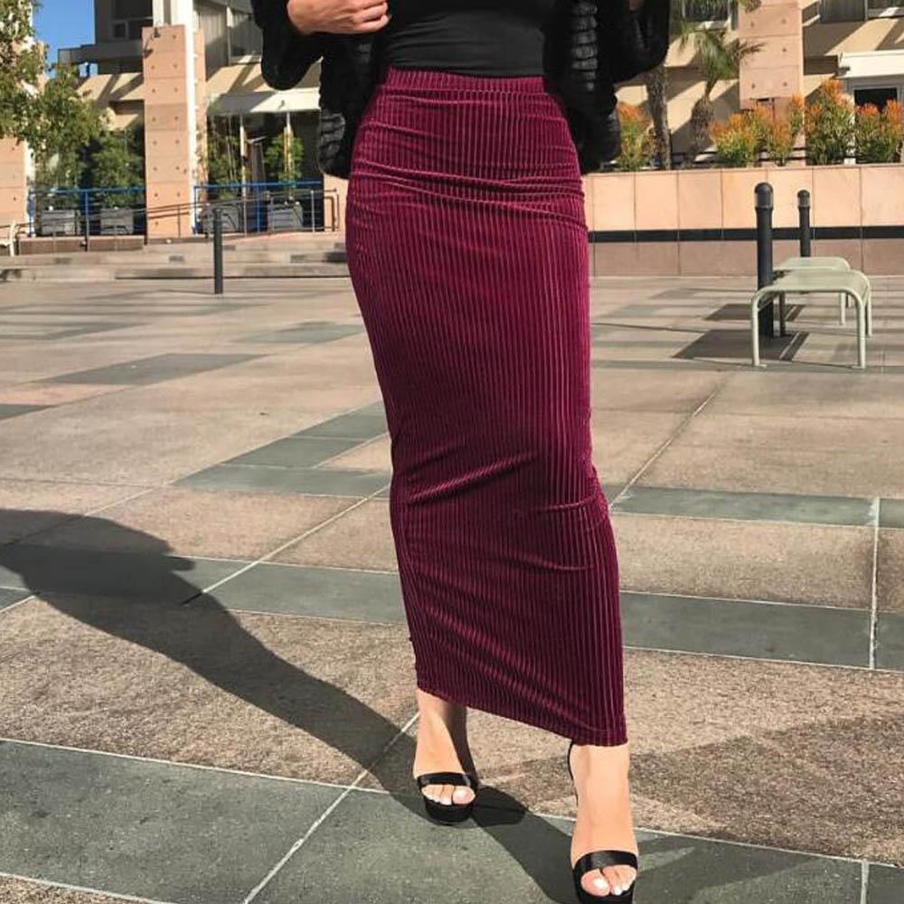 Womens Stretchy Bodycon Ladies Pencil Long Maxi Skirt High Waist Black Punk Gothic Steampunk Vintage Islamic Muslim Skirts Jupes