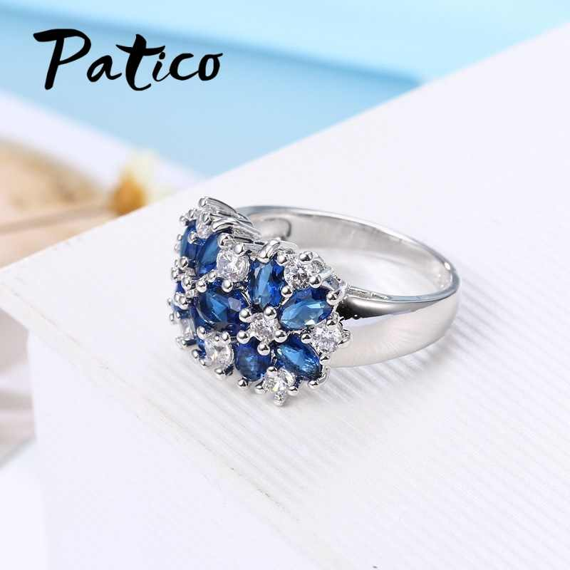 Reine 925 Sterling Silber Funkelnde Ringe für Frauen Mädchen Brilliant CZ Kristall Hochzeit Engagement Schmuck Sommer Verkauf