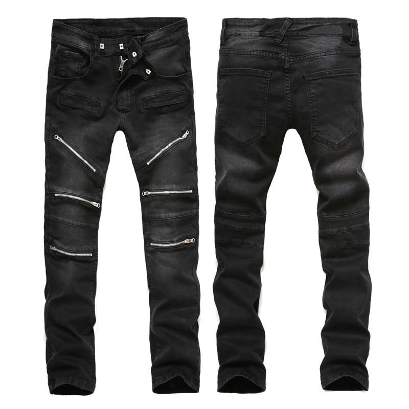 ФОТО New arrival famous designer black cotton biker jeans with zipper Slim Fit Motorcycle Jeans Men Vintage jeans pants  M11