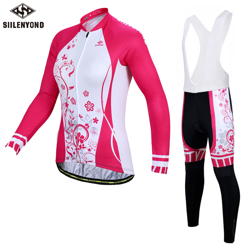 SIILENYOND Women Long Sleeves Cycling Jerseys Bib Set 2018 Cycling Clothing Winter Thermal Fleece Keep Warm Bicycle MTB Clothes