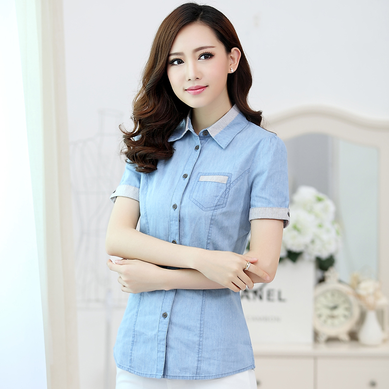 Fashion tropical short sleeve blusa jeans shirt women for Blue denim shirt for womens