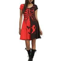 Halloween Dress Gift Hot Short Sleeved Dress 3D Skull Womens Wonder Ladies Skeleton Printed Fancy Dress