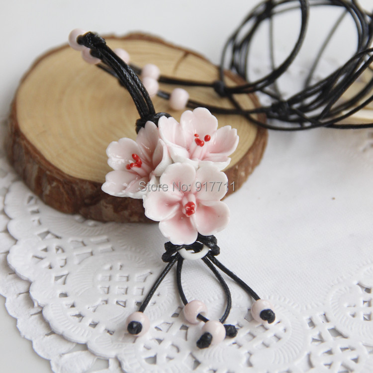 Flower Ceramic Necklaces Handmade Pendants Long New Design Fashion Vintage Jewelry Accessories Wholesale Charm Gifts For Women