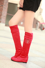 New 2014 spring boots woman Boots Sexy Inside Heel Stretched Faux Suede Over Knee Length High Boots Winter Plus size 10 1112A141