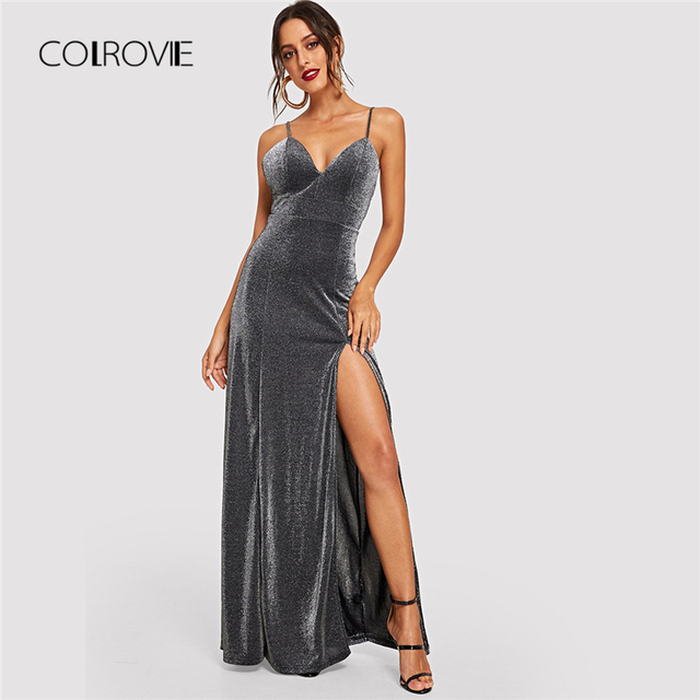 83cc8a1638b COLROVIE Grey Sleeveless Slit Glitter Bodice Cami Party Dress Women 2018  Autumn High Waist Long Sexy Dress Evening Maxi Dresses