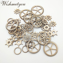 WISHMETYOU 50pcs 20-40mm Mix Wheel Gear Natural Wood Slices Handmade Scrapbooking Crafts Decor Home Accessories Finding Diy Make
