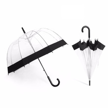 Semi-Automatic Long-handle Transparent Umbrellas For Women Kids Travel Protect Against Wind And Rain Clear Field Of Vision