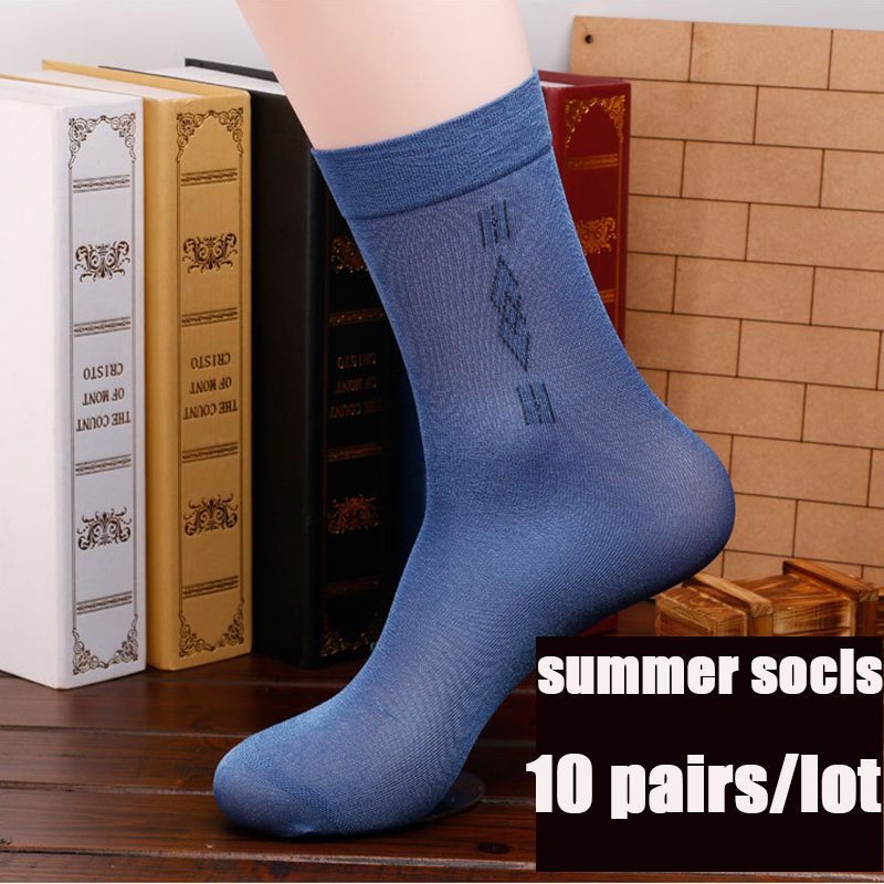 20 pieces=10 pairs Mens socks Solid Color in Tube socks men Business Pearl Cashmere Silky Classic Fashion Summer socks male