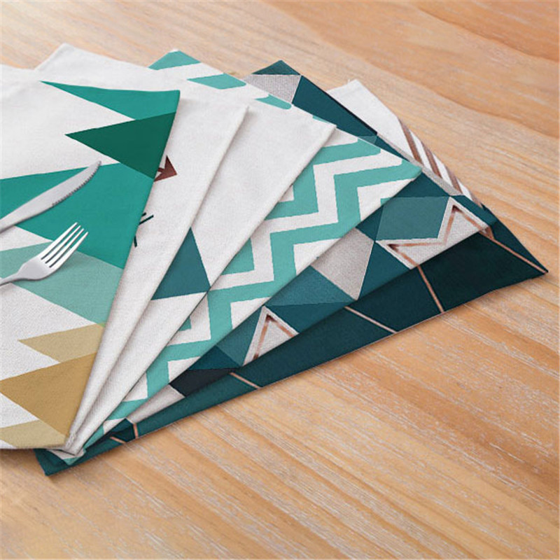 Geometric Patterns Distinctive Placemat Green Simple Table Napkins Dining Table Mat Bowls Drink Coasters Kitchen Accessories in Mats Pads from Home Garden